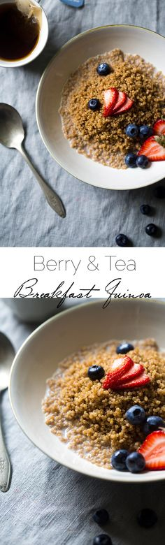 Tea and Berry Breakfast Quinoa - Scented with earl gray tea and topped with berries, honey and mint for a healthy, quick and easy breakfast that is super fresh! | Foodfaithfitness.com | @FoodFaithFit