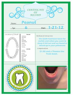 """Official"" Tooth Fairy Tooth Certificate. So cute! Totally doing this when I have kids!"