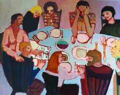 """The Seder"" Phyllis Serota: This is an early painting, which I painted after hosting my first seder. It was a wonderful night for me—a real celebration of being Jewish after a long period of separation from my roots."