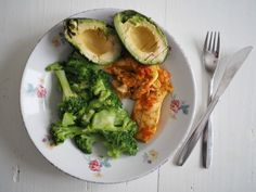 Healthy lunch: chicken fillet, broccoli and avocado