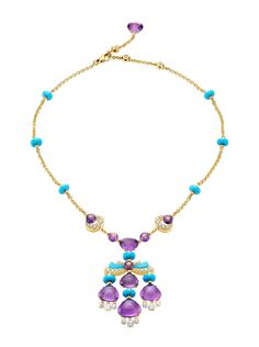 Bvlgari 18k Mediterranean Eden Necklace. 18k Yellow Gold Necklace with a  Turquoise 0b4f1fad28