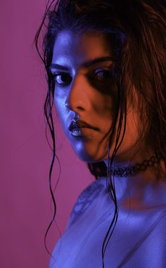 Colorful Beauty Portrait. Gel Lighting Photography.                                                                                                                                                                                 More