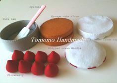 ETSY  Pretend food - Play food - Felt   food ,    How to make  the Strawberry cake set.. $38.00, via Etsy.