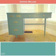 Rivulet (SW is perfectly paired with the gold-plated hardware on this desk . Loved this makeover. Colorful Furniture, Painted Furniture, Diy Furniture, Blue Paint Colors, Exterior Paint Colors, Colour Pallette, Kitchen Cabinet Design, Furniture Inspiration, Colour Inspiration