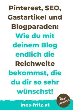 Du willst dir als Bloggerin einen Namen machen und dass dein Blog richtig bekannt wird? Die besten Tipps und Tricks wie du als Bloggerin endlich zu mehr Reichweite gelangst! Rich Pins, Content Marketing, Words, Fritz, Seo, Home Based Business Opportunities, Passive Income, Search Engine Optimization, Finance