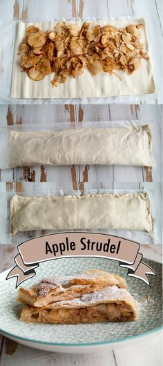 Apple Strudel with only 3 ingredients! Apple Recipes, Sweet Recipes, Baking Recipes, Vegan Dessert Recipes, Just Desserts, Strudel Recipes, Vegan Treats, Vegan Food, Healthy Food