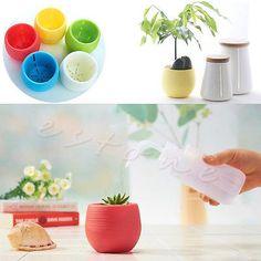 Colourful Mini Round Plastic Plant Flower Pot Garden Home Office Decor Planter