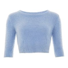 Isobel Fluffy Jumper found on Polyvore featuring tops, sweaters, crop tops, crop, jersey, jumpers sweaters, jumper shirt, shirts & tops, blue jumper and blue shirt