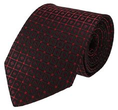 Mens Necktie Black with Red Grid and Square Pattern Standard Size Tie ** Find out @