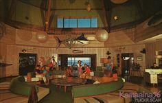 Lobby at the Kona Inn, Kailua-Kona, Hawaii - I stayed here when it was still open! Retro Interior Design, Retro Design, Kailua Kona Hawaii, Vintage Hotels, Hotel Motel, Vintage Interiors, Mid Century House, Mid Century Modern Design, Mid-century Modern
