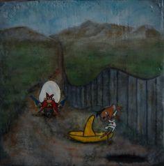 #Original #Abstract #Painting #Encaustic #MixedMedia #Sam #Art #Wax #Cartoon #Success #Defiance #Parody #Speedy #Gonzales