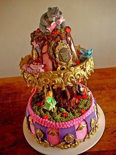 Bolo Carrossel de Balanços Disney! (Disney Swing Carousel Cake!) by Carla Ikeda - DENTRO DO FORNO - BOLOS DECORADOS - , via Flickr