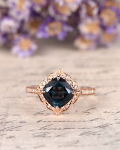 London Blue Topaz Engagement Ring,7mm Cushion Cut wedding ring,art deco topaz ring,14K rose gold halo ring,antique birthstone promise ring by Yridesign on Etsy https://www.etsy.com/listing/557665609/london-blue-topaz-engagement-ring7mm