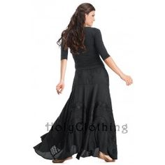 Portia A Line Circle Flare Embroidered Gothic Goth Vamp Skirt - Skirts