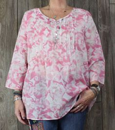 Cute J Jill Blouse L size Pink White Floral Lightweight Womens Tunic Top Boho Hippy