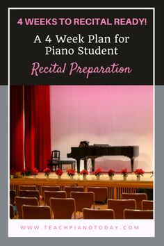 "If you too are ""done"" with hoping, praying and fretting about your piano students' recital preparations (or lack thereof!), then you'll appreciate the schedule set out below. Beginning 4 weeks before your piano recital, compare your piano students' readiness to my schedule. Are they on track? Wonderful. Are they not on schedule? Time for a home practice intervention."