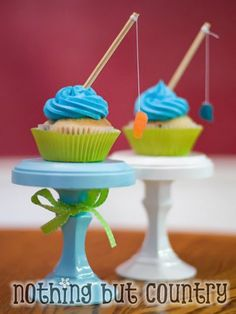 Good Catch    Take a fish-themed birthday party to the next level with these fantastic fishing pole cupcakes from Nothing But Country (as seen on Tidy Mom). They're easy to create using blue frosting, corn skewers, sewing thread and fish-shaped fruit snacks. (Miniature Swedish fish candies would work, too).
