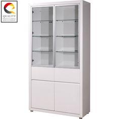 fino gloss white tall 4 door display cabinet