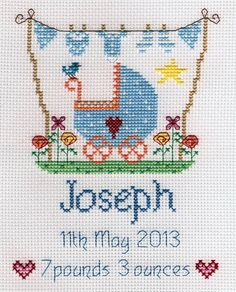 Welcome a new baby boy and congratulate the happy parents with this beautiful baby boy cross stitch sampler from Nia.This adorable kit can be person...