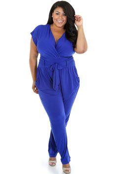 Chasubles & Grenouilleres Bleu Grande Taille Belted Jumpsuit – Modebuy.com