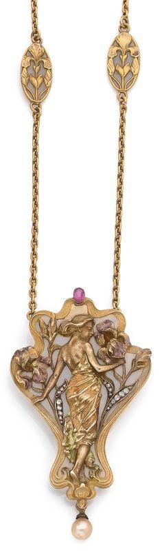 An Art Nouveau gold, plique-à-jour enamel, diamond, ruby and natural pearl pendant necklace, circa 1900. Pendant length 7cm. #ArtNouveau #pendant #necklace