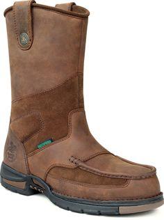 Georgia Athens Mens Brown Leather Steel Toe Waterproof Welly Work Boots