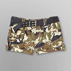 Dollhouse Junior's Shorts & Belt - Camouflage - Clothing - Juniors - Shorts