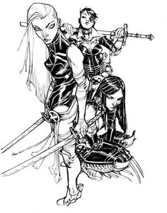Psylocke, Domino and X-23, by Eric Canete