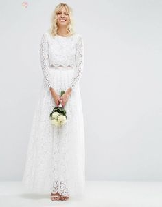 ASOS BRIDAL Lace Long Sleeve Maxi Prom Dress