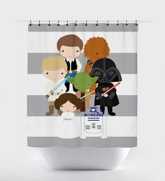star wars shower curtain, fabric shower curtain, little kid character star wars, star wars quote by PrintArtShoppe on Etsy https://www.etsy.com/listing/229389956/star-wars-shower-curtain-fabric-shower