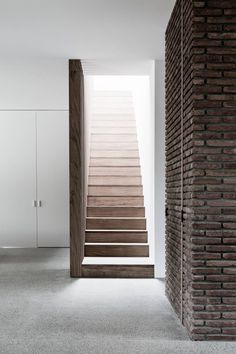 Vincent Van Duysen was born in Lokeren, Belgium. He attended Architecture school at the Institute Saint-Lucas in Ghent and founded his design studio in Antwerp Interior Stairs, Interior And Exterior, Contemporary Architecture, Interior Architecture, Grey Window Frames, Vincent Van Duysen, Interior Design Minimalist, Stair Steps, House Stairs