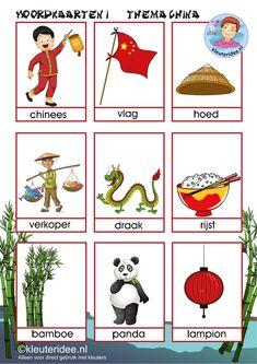 Woordkaarten voor kleuters, thema China 1, kleuteridee.nl, free printable.
