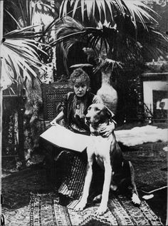 Sarah Bernhardt with her dog.