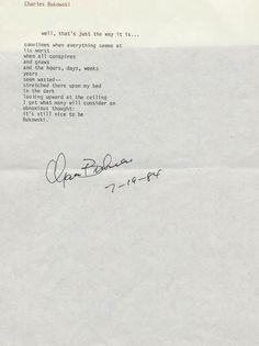 Charles Bukowski manuscripts