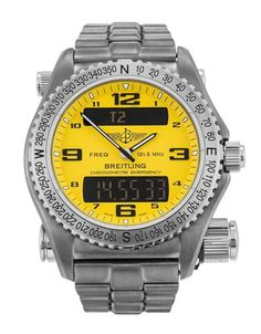 Pre-owned Breitling Emergency Gents Quartz watch. 43 mm Titanium case, with Yellow Quarter Arabic dial. In stock now, on your wrist tomorrow! Old Watches, Watches For Men, Breitling Watches, Amazing Watches, Quartz Watch, Mazda, Accessories, Jewelery, Yellow