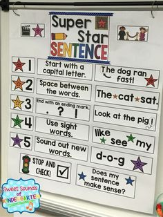 Get this sentence writing anchor chart with this fantastic writing bundle for ki. Get this sentence writing anchor chart with this fantastic writing bundle for kindergarten and first grade! First Grade Writing, Teaching First Grade, First Grade Classroom, Teaching Writing, First Grade Art, Teaching Ideas, Sentence Anchor Chart, Writing Anchor Charts, Sentence Writing
