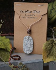 Essential Oil Diffuser Necklace | Handmade Necklace | Clay Pendant | Diffuser Jewelry | Aromatherapy | Gray & White | Boho by DeAnnasCreativeBliss on Etsy