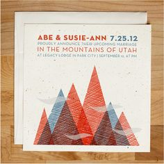 Wedding invitation - Textured Mountain Invitation Set via Etsy