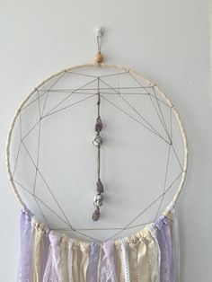 DREAM CATCHER Crystal centre dream catcher with amethyst and moonstone by ivie and letty Dream Catcher, Centre, Amethyst, Crystals, Home Decor, Dreamcatchers, Decoration Home, Room Decor, Crystal