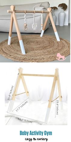 Encourages early motor skills while giving infants something to hold and manipulate. Natural colour, perfectly coordinate with most of the nursery. Wood Baby Gym, Diy Baby Gym, Baby Bedroom, Baby Room Decor, Kids Bedroom, Scandinavian Kids Rooms, Baby Activity Gym, Baby Sewing Projects, Infant Activities