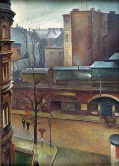 Albert Birkle, S-Bahnhof Tiergarten, 1926. Albert Birkle was born in Charlottenburg, then an independent city and since 1920 part of Berlin.Birkle developed a unique style informed by expressionism and New Objectivity/Neue Sachlichkeit.