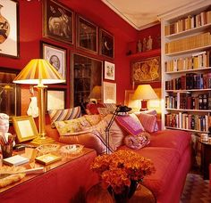 Room of the Day ~ cozy red sitting room in London - home of John Stefanidis