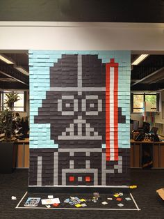 Employees Decorate Office Walls With Pixelated Star Wars Murals Made From 3,597 Post-It Notes