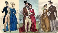 Victorian couples in riding attire, 1840 and 1850s. Most men's outfits were made for riding, women wore habits designed specially for equestrian pursuits.