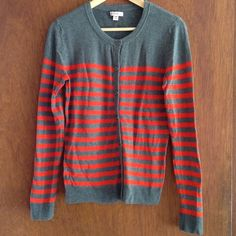 Merona Striped Crew Neck Cardigan This super cute button-up crew neck Merona cardigan is a medium grey with vibrant orange stripes.  Size M. Worn once. Merona Jackets & Coats