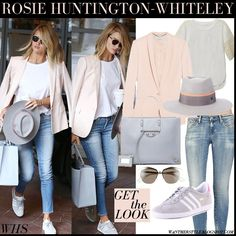 Rosie Huntington-Whiteley in pale pink blazer, white top, skinny jeans, grey hat, grey tote, mirrored sunglasses and grey sneakers