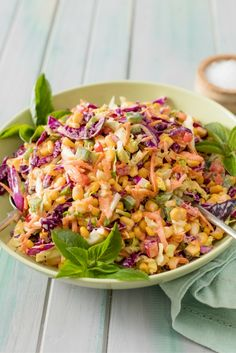 You can toss this crunchy and colourful braai (bbq) salad with creamy mayonnaise dressing together in no time - and it tastes as good as it looks. Braai Recipes, Vegetarian Recipes, Dinner Recipes, Cooking Recipes, Healthy Recipes, Coleslaw Salad, Creamy Coleslaw, Easy Salads, Healthy Salads