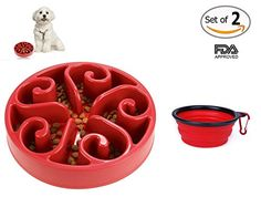 COOLTECH Slow Feed Dog Bowl Interactive Bloat Stop Pet Bowl with Collapsible Travel Dog Bowl FDA Approved 118 inch Flower ShapeRed -- You can get more details by clicking on the affiliate link Amazon.com.