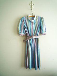 Vintage Striped Belted Day Dress, House Dress, Secretary Dress Size 10 Petite #LadyCarolPetitesofNewYork #ShirtDress #WeartoWork #vintagedaydress #secretarydress #stripedress #vintagedress