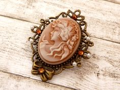 Large cameo brooch in brown bronze, antique brooch, Lolita Jewelry, Baroque jewelry, neckline brooch, Traditional Jewelry, gift for her - pinned by pin4etsy.com